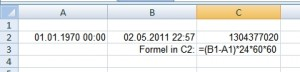 Excel: Datum in UNIX-Timestamp umwandeln